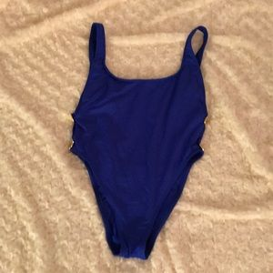 One piece swim suit with gold button detail